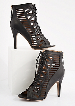 Black Geo Caged Stiletto Shootie