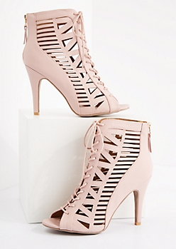 Pink Geo Caged Stiletto Shootie