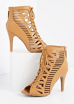 Tan Geo Caged Stiletto Shootie