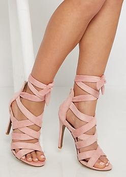 Pink Mock Suede Criss-Cross Strap Stiletto