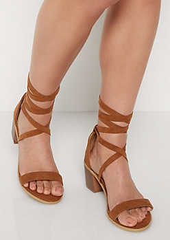 Cognac Lace Up Stacked Heel
