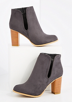 Gray Cutout Stacked Heel Bootie