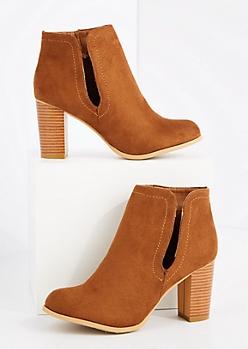 Cognac Cutout Stacked Heel Bootie