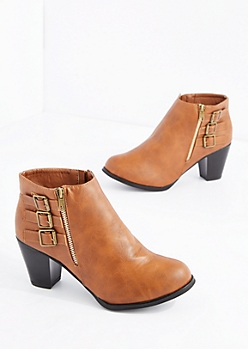 Tri-Buckle Washed Bootie