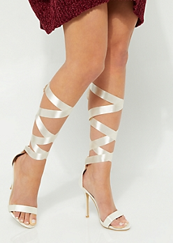 Nude Ribbon Tie Sateen Stiletto By Olivia Miller