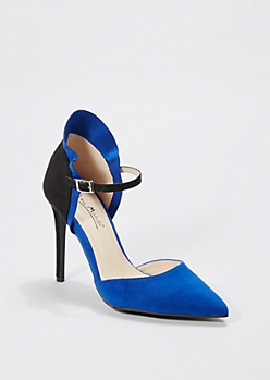 Blue Pointed Toe Ruffled Pump by Anne Michelle®