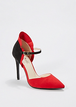 Red Pointed Toe Ruffled Pump by Anne Michelle®