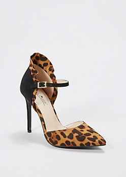 Leopard Pointed Toe Ruffled Pump by Anne Michelle®