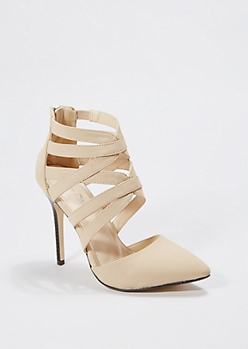 Tan Cross Strap Pump by Anne Michelle®