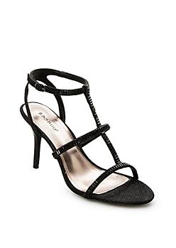 Black Baguette Gem 3-Strap Heel By Bamboo®