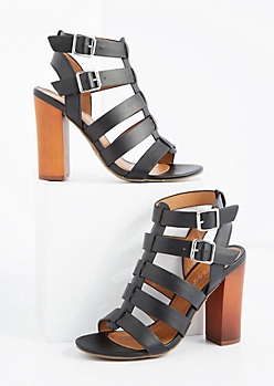 Black Caged Double Buckle Heel By Bamboo®