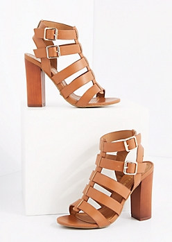 Tan Caged Double Buckle Heel By Bamboo®