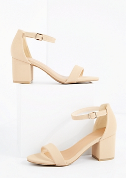Nude Strapped Mid Heel By Bamboo®
