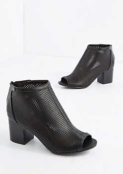 Black Perforated Shootie By Bamboo®