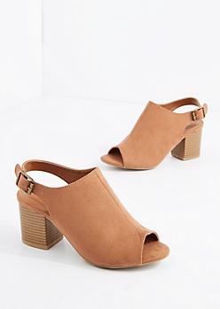 Camel Peep Toe Stacked Heel By Bamboo®