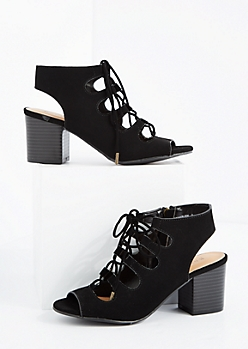 Black Lace-Up Peep Toe Heel By Bamboo®