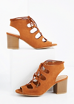 Cognac Lace-Up Peep Toe Heel By Bamboo®