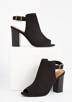 Black Buckled Mock Suede Mule by Bamboo