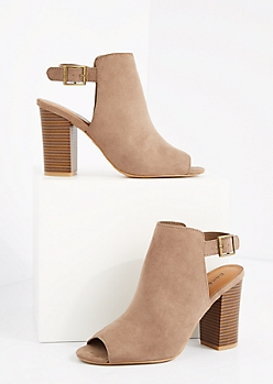 Taupe Buckled Mock Suede Mule by Bamboo