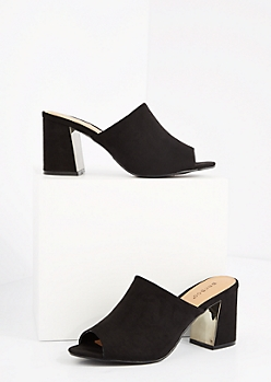 Black Mock Suede Mule by Bamboo