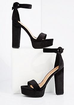 Black Velvet Platform Block Heel