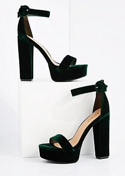 Green Velvet Platform Block Heels