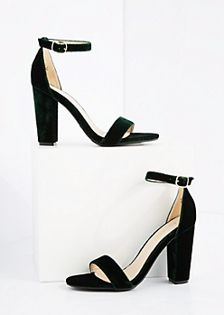 Green Velvet Blocked Heels