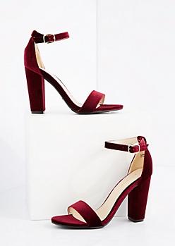 Burgundy Velvet Blocked Heels