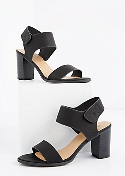 Black Open Toe Stacked Heel