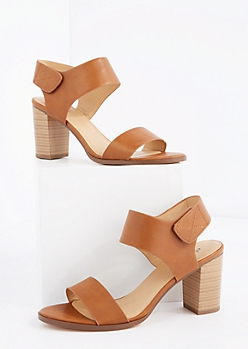 Cognac Open Toe Stacked Heel