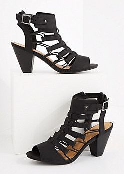 Black Caged Cone Heel