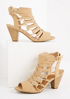 Taupe Caged Cone Heel