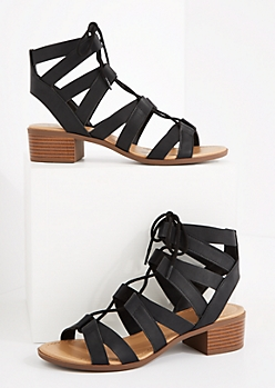 Black Lace-Up Stacked Heel