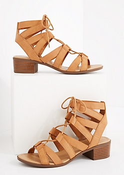 Cognac Lace-Up Stacked Heel