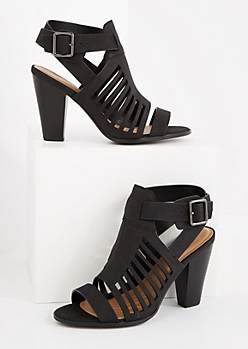 Black Buckled Cutout Cone Heel