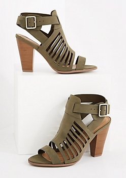 Khaki Buckled Cutout Cone Heel