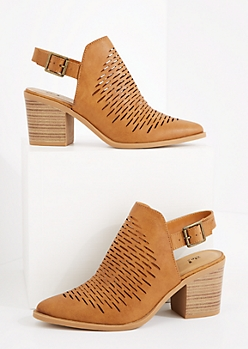 Cognac Perforated Stacked Mule