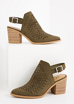 Olive Perforated Stacked Mule