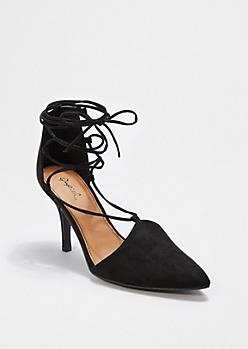Black Laced-Up Heel By Qupid®