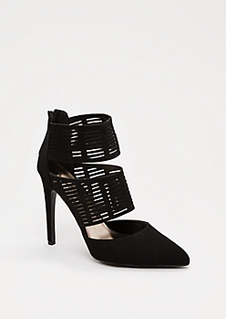 Black Cut-Out Cuffed Heel By Qupid®