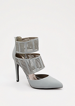 Gray Cut-Out Cuffed Heel By Qupid®