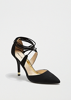 Black Lace-Up D'Orsay Heel by Qupid®