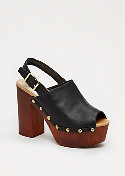 Faux Leather Block Heel by Qupid®