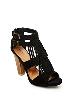 Black Fringed Chunky Pumps By Qupid®