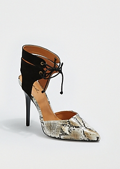 Faux Snakeskin Ankle Tie Pump By Qupid®
