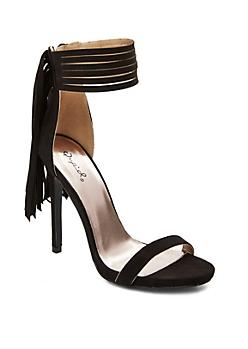 Black Fringe Ankle Strap Stiletto Sandal By Qupid®