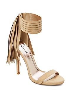 Taupe Fringe Ankle Strap Stiletto Sandal By Qupid®
