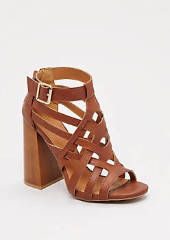 Cognac Cross-Strap Chunky Heel By Qupid®
