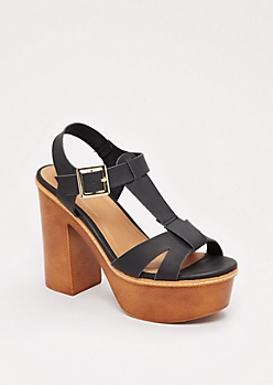 Black Strappy Chunky Heel By Qupid®