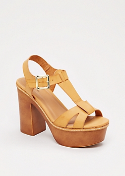Camel Strappy Chunky Heel By Qupid®